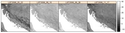 Fig. 4.4: A sample of downloaded and resampled MODIS LST images showing the average values of clear-sky LST.