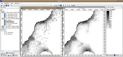 Fig. 4.13. Comparing results from SAGA (left) and gstat (right): regression-kriging.
