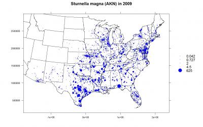 Occurrence records for Sturnella magna (2009)