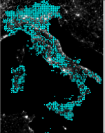 Location of the floristic 10 km blocks in Italy