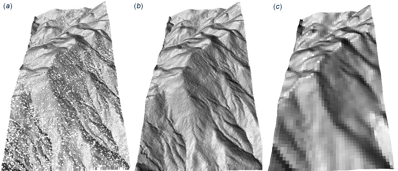 Fig. 9.2: Initial 5 m DEM (a) generated directly from the LiDAR points, and after filtering (b).