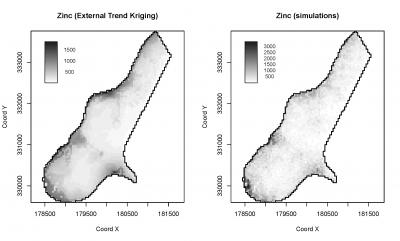 Fig. 5.17: Zinc predicted using external trend kriging in geoR (left); simulations using the same model (right).