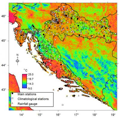 Location of climatic stations in Croatia