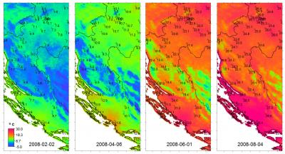 Figure: Mean daily temperatures for four arbitrary dates predicted using spatio-temporal regression-kriging.