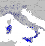 Rainfall measurements for Italy for 2010-01-23